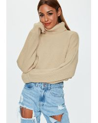 Missguided - Sand High Neck Balloon Sleeve Cropped Jumper - Lyst