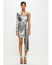 Missguided - Peace + Love Silver Asymmetric Mini Dress - Lyst