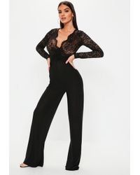 931b28d1d90198 Missguided Lace Sleeve High Neck Jumpsuit Black in Black - Lyst