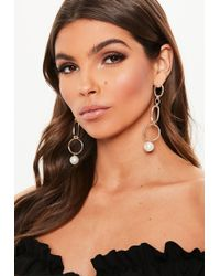 Missguided - Gold Look Chain Pearl Drop Earrings - Lyst