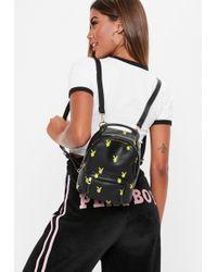 Missguided - Playboy X Black Logo Mini Backpack - Lyst