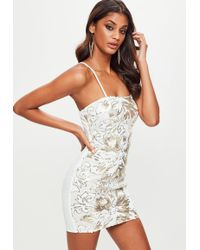 Missguided - White Sequin Bodycon Dress - Lyst