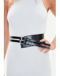 Missguided - Black Thick Double Strap Belt - Lyst