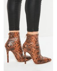 Missguided - Tan Snake Print Fitted Heeled Ankle Boots - Lyst