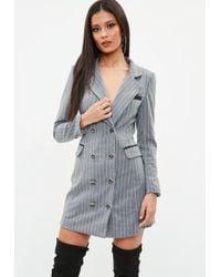 Missguided - Grey Pinstripe Longline Blazer - Lyst