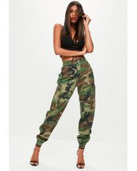Missguided - Green Camo Printed Cargo Pants - Lyst