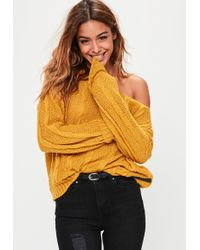 Missguided - Yellow Off Shoulder Slouchy Sweater - Lyst