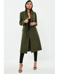 Missguided - Khaki Faux Wool Military Coat - Lyst