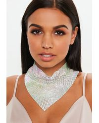 Missguided - Silver Look White Multi Chainmail Necklace - Lyst