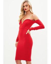 Missguided - Red V Bar Midi Dress - Lyst