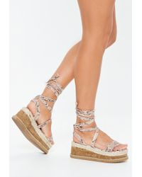 1ddcb4332df8 Lyst - Missguided Purple Iridescent Snake Print Gladiator Sandals in ...
