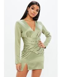 Missguided - Green Silky Paneled Long Sleeve Shift Dress - Lyst