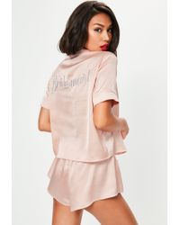 Missguided - Pink Satin Bride Piped Short Pyjama Set - Lyst