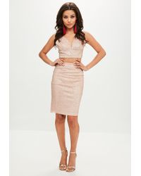 Missguided - Pink Sequin Cross Detail Two Piece - Lyst