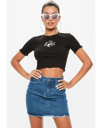 Missguided - Barbie X Black Barbie Girls Club Slogan Lettuce Hem Crop Top - Lyst