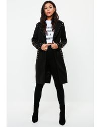 Missguided - Black Studded Formal Coat - Lyst
