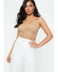 Missguided - Nude Corded Lace Bralette - Lyst