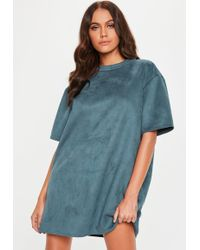 941bd370f3c Missguided - Blue Grey Faux Suede Oversized T Shirt Dress - Lyst