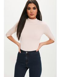 Missguided - Nude 3 Quarter Sleeve Fitted Rib Top - Lyst