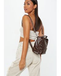 Missguided - Brown Square Check Mini Backpack - Lyst