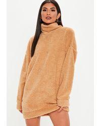 Missguided - Tall Camel Teddy High Neck Sweatshirt Dress - Lyst