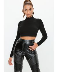 Missguided - Black Knitted High Neck Ribbed Crop Top - Lyst
