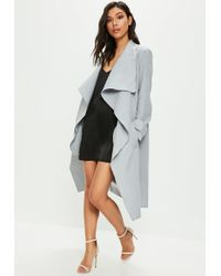 Missguided - Gray Oversized Waterfall Duster Coat - Lyst