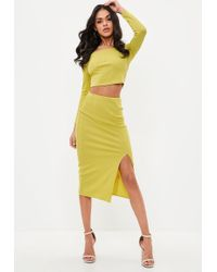 Missguided - Yellow Bandage Side Split Midi Skirt - Lyst
