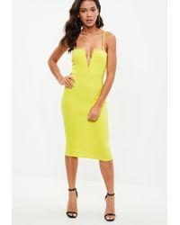 Missguided - Yellow Scuba Strappy V Bar Midi Dress - Lyst