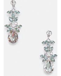 Missguided - Silver Diamante Drop Earrings - Lyst