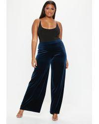 Missguided - Plus Size Navy Velvet Wide Leg Trousers - Lyst