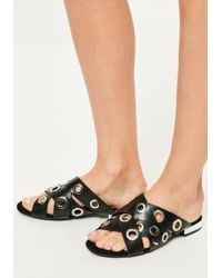 Missguided - Black Eyelet Asymmetric Sandals - Lyst