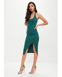 Missguided - Green Halterneck Dress - Lyst