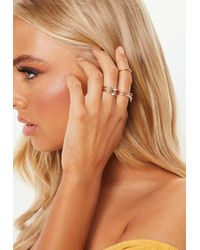 Missguided - Gold Look Crystal Charm Ring Multipack - Lyst