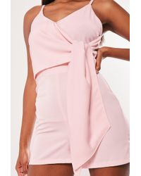Missguided - Pink Tie Side Overlay Playsuit - Lyst