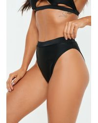 85d821fa66960 Missguided - Black Mix And Match High Waisted High Leg Bikini Bottoms - Lyst