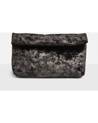 Missguided - Black Velvet Roll Top Clutch Bag - Lyst
