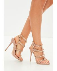 Missguided - Pink Studded Gladiator Heeled Sandal - Lyst