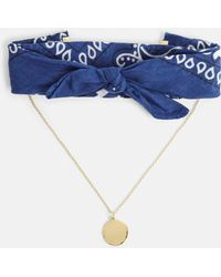 Missguided - Blue Bandana Gold Choker Necklace - Lyst