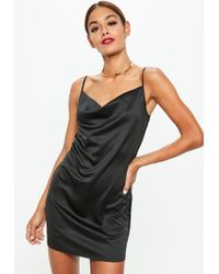 Missguided - Black Satin Crepe Strappy Cowl Shift Dress - Lyst