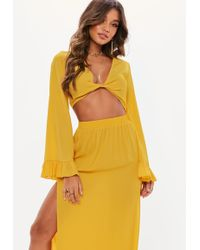 Missguided - Mustard Yellow Twist Front Flared Sleeve Crop Top - Lyst