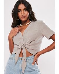 8285c26e45292 Lyst - Missguided Lynne Ribbed High Neck Crop Top Taupe in Brown