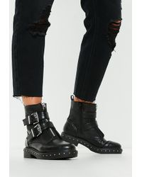Missguided - Black Double Buckle Studded Sole Biker Boots - Lyst