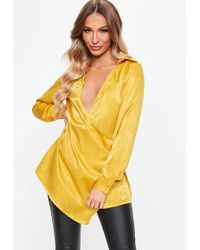 Missguided - Chartreuse Satin Drape Wrap Over Shirt - Lyst
