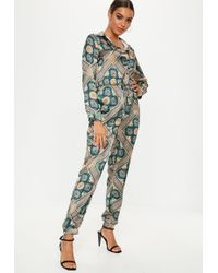 9c1b347a2e6 Lyst - Missguided Blue Print Utility Jumpsuit in Blue