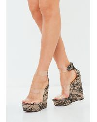 028b7a69989 Missguided - Nude Three Strap Clear Platform Wedge Lace Shoes - Lyst