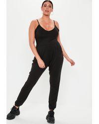 ee3114fcd7e Missguided Plus Size Black Kimono Sleeve Polka Dot Jumpsuit in Black ...