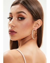 Missguided - Gold Sparkle Hoop Earrings - Lyst