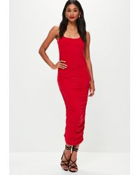 Missguided - Red Slinky Gathered Side Midi Dress - Lyst