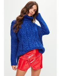 Missguided - Blue Oversized Cable Knit Jumper - Lyst
